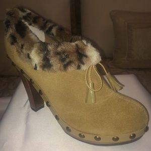 Colin Stuart Tan/Faux Fur Trimmed Ankle Boots
